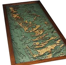 Nautical Wood Charts Florida Keys Lower Keys 3 D Nautical Wood Chart 13 5 X 31