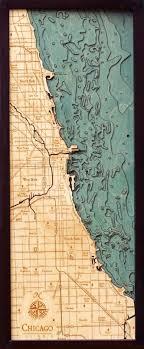 Chicago Shoreline 3 D Nautical Wood Chart 13 5 X 31