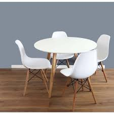 scandinavian white oak wood round dining set with 4 chairs