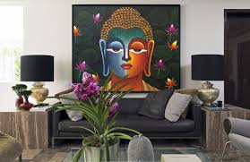 Dining Room Canvas Art Beautiful Buddha Painting Mixed Media