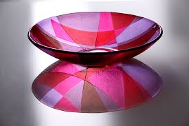 decorative glass bowl brilliant red pink lilac picasso by laura hart regarding decoration decorative