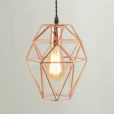vintage edison bulb hanging lamp with rose gold metal cage shade