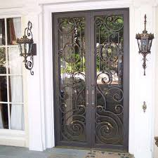 front doors with glass and wrought iron f93x in most attractive