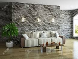 The Brick Living Room Furniture Livingroom With Sofa Near The Brick Wall Stock Photo Picture And
