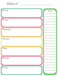 Weekly Calendar Free Printable 2017 Planner Template 2016 One Week ...