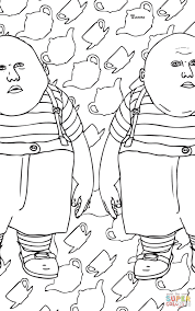 Small Picture Tweedle Dum and Tweedle Dee coloring page Free Printable