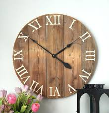large wooden wall clock made from pine boards wood comes from barn siding that is mildly large wooden wall clock