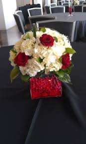 red roses, white hydrangea, red water gems in clear vase by  www.CreationsbyDebbie  Banquet CenterpiecesFloral ...