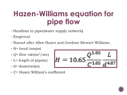 Hazen Williams Formula Pipe Flow Chart Hydraulics Of Water Distribution System