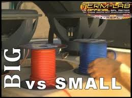 Speaker Wire Size Chart Car Car Audio Speaker Wire Big Vs Small 8 Gauge To 10 Awg W Acts Spl Stereo Termlab Bass Comparison