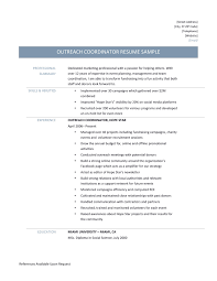 outreach coordinator resume samples tips and template outreach coordinator resume page 001