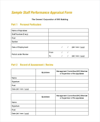 Employee Performance Appraisal Form Template Staff Sample Answers ...