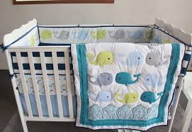 blue baby bedding set embroidery 3d ocean whale baby crib bedding set cotton quilt bedskirt per