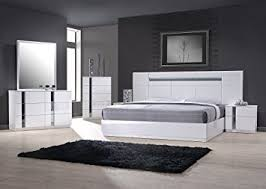 white king bedroom sets. J\u0026M Furniture 17853-K Palermo King Size Bedroom Set - White Lacquer \u0026 Chrome Sets S