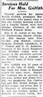 Adelia Myrtle (Roberts) Griffith - Obituary - Newspapers.com