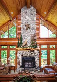 Log Cabin Living Room Fascinating HYBRID LOG Dickinson Homes