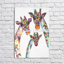 100 hand painted new popular s three piece knife colorful giraffe oil painting canvas