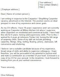 Carpenter Cover Letter Examples Cover Letter Sample