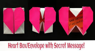 how to make origami paper heart gift box with secret message