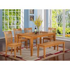 Light Oak Dining Room Furniture Ownza 7 Pc Dinette Kitchen Dining Set Table With 6 Wood Seat