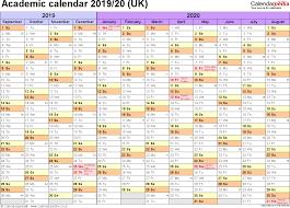 Academic Calendars 2019 2020 As Free Printable Word Templates