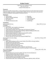 Resume For Janitorial Work Resume Sample