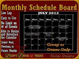 Monthly Calendar Schedule Second Life Marketplace Xd Monthly Calendar And Schedule Board