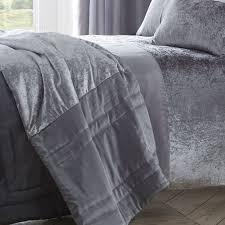 boulevard crushed velvet bedspread silver grey