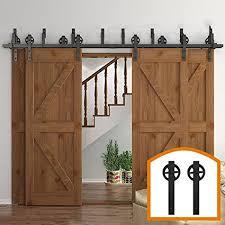 homedeco hardware rustic 10 16 ft byp 4 doors barn door hardware sliding black steel