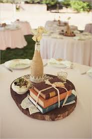 rustic vine book wedding centerpiece
