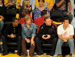 Chris Rock, David Spade, Kevin James and Adam Sandler cheer on the Lakers  during
