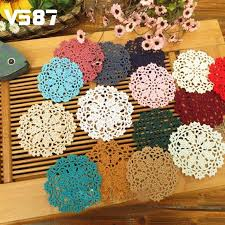 whole 10cm handmade cotton hollow round table mat vintage fl beaded table mats and coasters