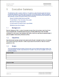 executive summary format for project report maintenance plan template technical writing tips