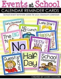 How To Make A School Calendar Events At School Calendar Reminder Cards School Calendar