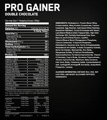 optimum nutrition pro gainer nutritional label