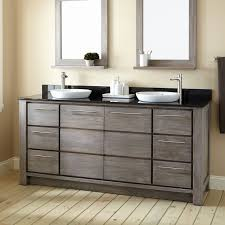 double sink vanity with makeup table brown laminated wooden glass mirror white ceramic standing sink white