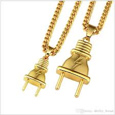 whole new arrival plug pendant 18k gold necklace pendants hip hop gold color for men women ng with gift box hip hop jewelry chunky necklaces