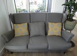 ikea strandmon 3 seater sofa wing chair and footstool