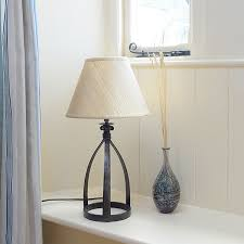 tiny mitre wrought iron table lamp in natural black finish with 255mm 10