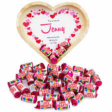 personalised heart tray filled with love heart sweets from prezzybox