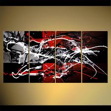abstract artwork on black and white with a splash of red wall art with painting red white black original art splash multi panel 4513