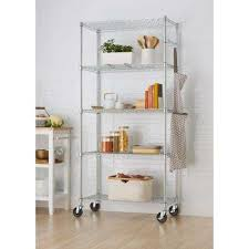 trinity ecostorage 5 tier wire 36 in x 18 in x 72 in shelving rack with wheels in chrome