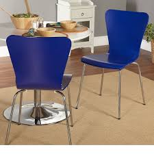 get quotations 2 piece blue dining chairs solid pattern wood material contemporary modern stackable
