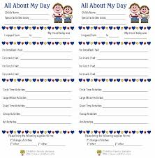 Child Care Daily Reports Printable Forms Childfun