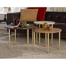 They were super easy to assemble and i had them finished in less than 30 minutes. Walker Edison Furniture Company 3 Piece Modern Round Nesting Coffee Table Set Living Room Accent Ottoman Storage Shelf Set