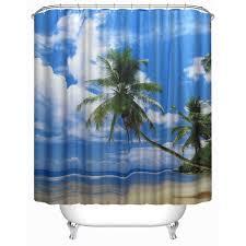svetanya 71x71 coconut tree blue sky print shower curtains bath products bathroom decor with hooks waterproof