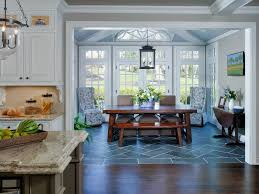dining room tile flooring. wood floor to tile transition dining room with traditional dark table flooring e