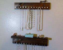 Rustic Jewelry Holder - Jewelry Shelf - Jewelry Organizer - Necklaces  Storage - Earring Holder -
