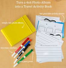 one for each child turn a 4x6 photo al into a travel activity book with free printables goldfishcrowd