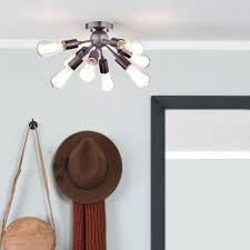 metal sputnik chandelier 8 light semi flush ceiling oil rubbed bronze mount gold